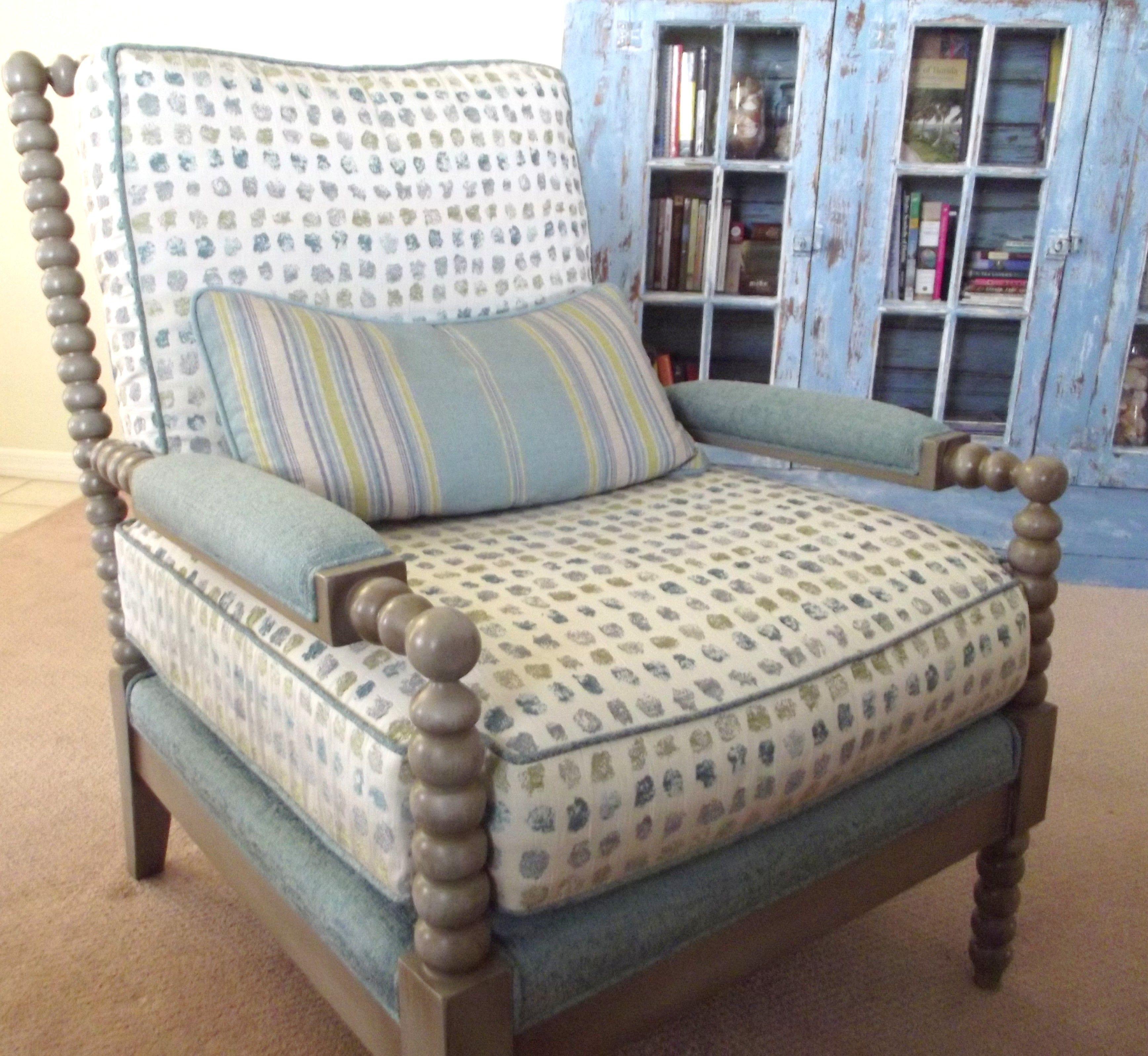 A Beautiful Bankwood Chair Custom Made By Calico Corners Main Fabric :  Norwood Aegean Deck,