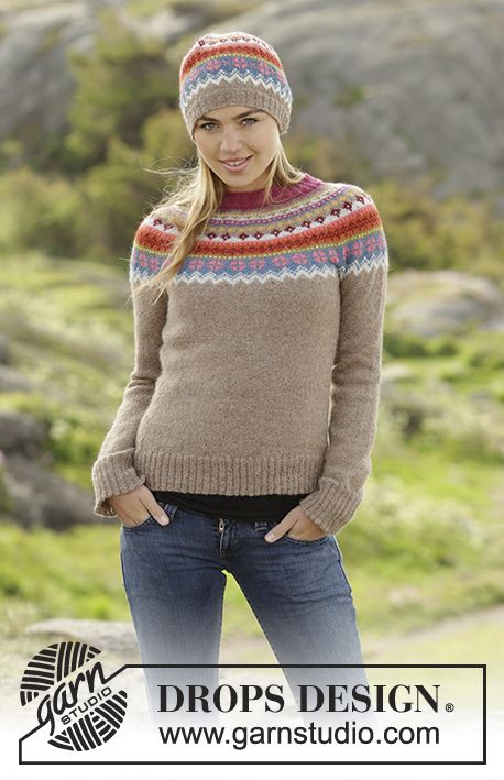 Stavanger jumper and hat by DROPS Design. Free knitting pattern ...