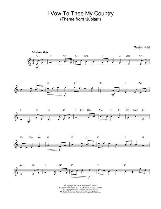 I vow to thee my country lyrics pdf
