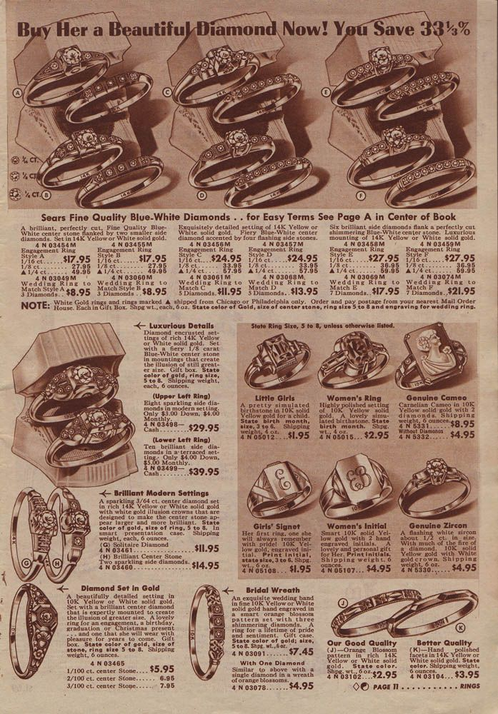 1940 Sears Christmas Bookwedding ring sets Check out the prices