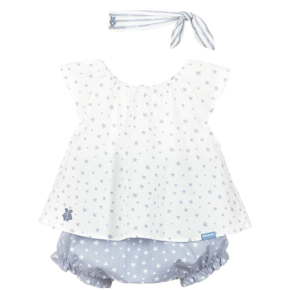 d9bfa88a23d7 A cute, grey and ivory top and shorts set for baby girls by Tutto Piccolo,  made in lightweight cotton and patterned with stars.