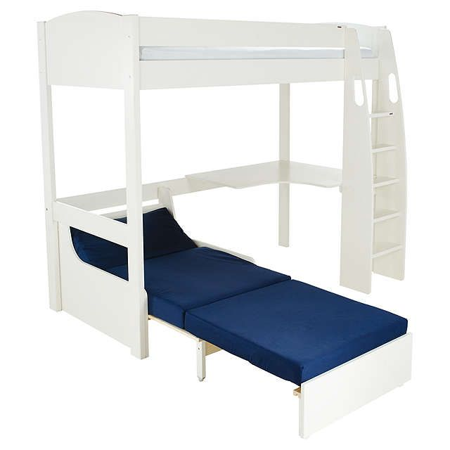 Stompa Uno S Plus High Sleeper Bed With Corner Desk And Chair White Blue Online At Johnlewis