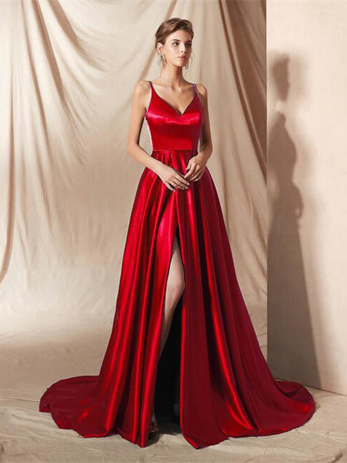 Festliche Abendkleid Lang Rot Seide Satin Mit Schleppe ...