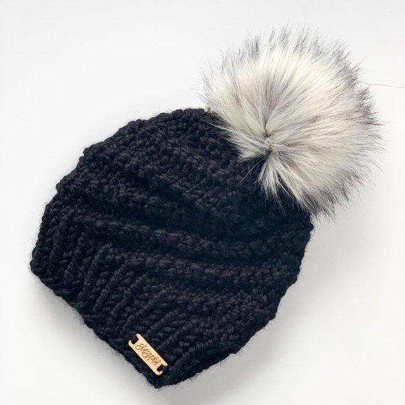 Spiral Beanie- Silver fox faux fur pom pom   Womens winter hat with faux  fur pom pom  knitted toque 579877f01bc3