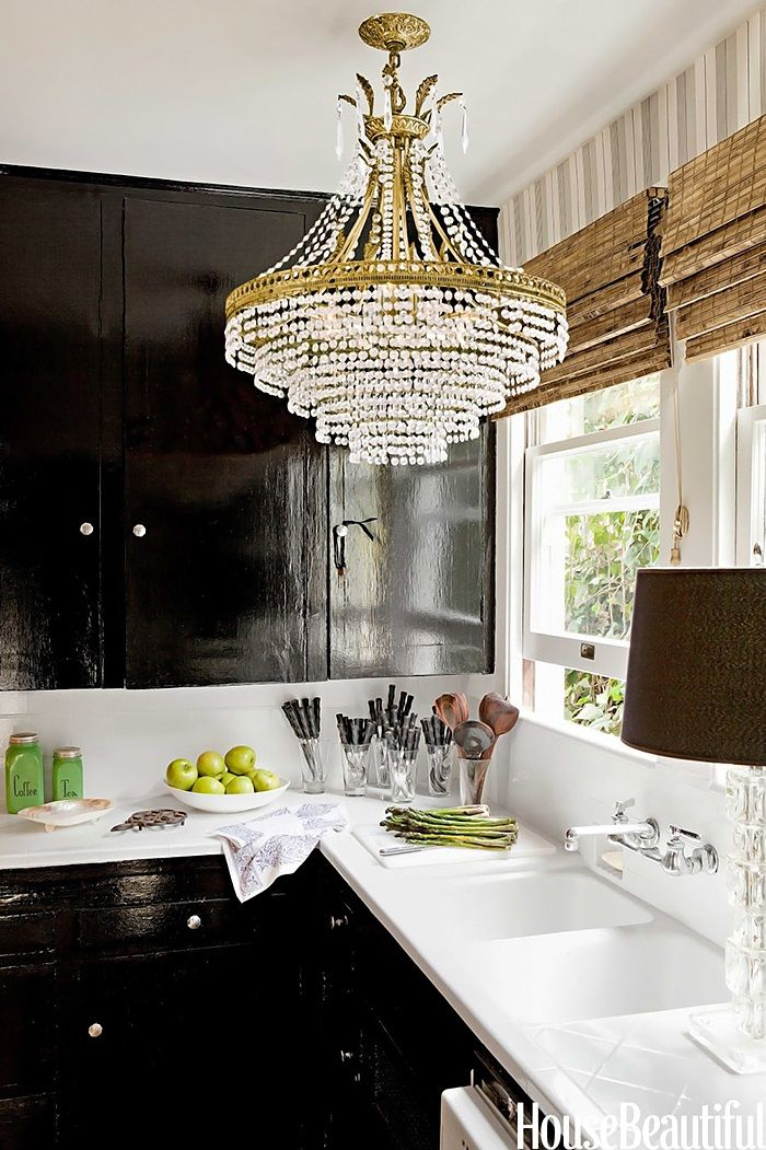 Delicieux Kitchen Has A Chandelier, Bamboo Blinds, Black Lacquered Kitchen Cabinets
