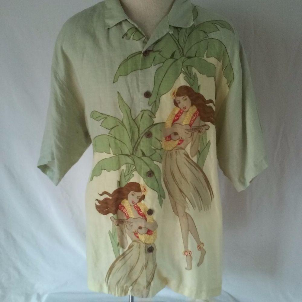 TOMMY BAHAMA Hula Hawaiian Aloha Multicolor Men's XL Shirt Casual  Linen #TommyBahama #Hawaiian