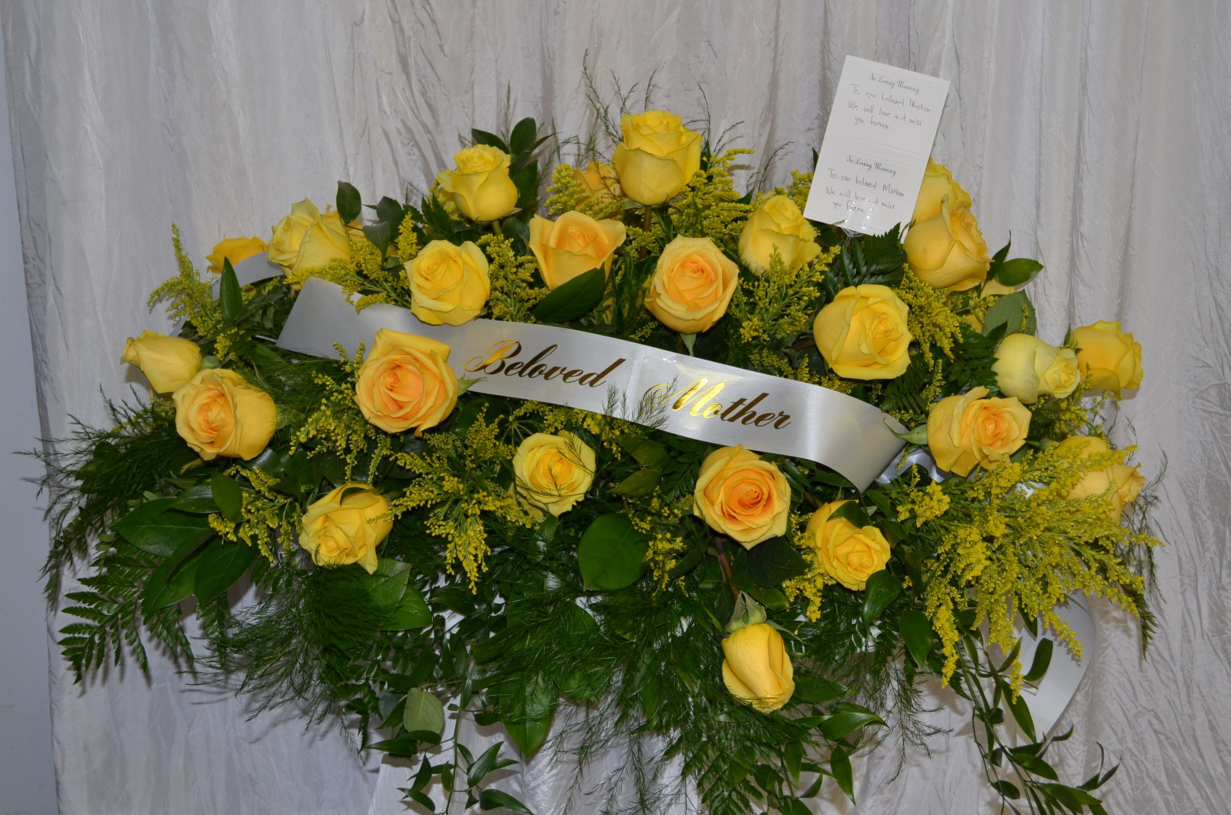 Yellow rose solidago casket cover with beloved mother ribbon yellow rose solidago casket cover with beloved mother ribbon izmirmasajfo