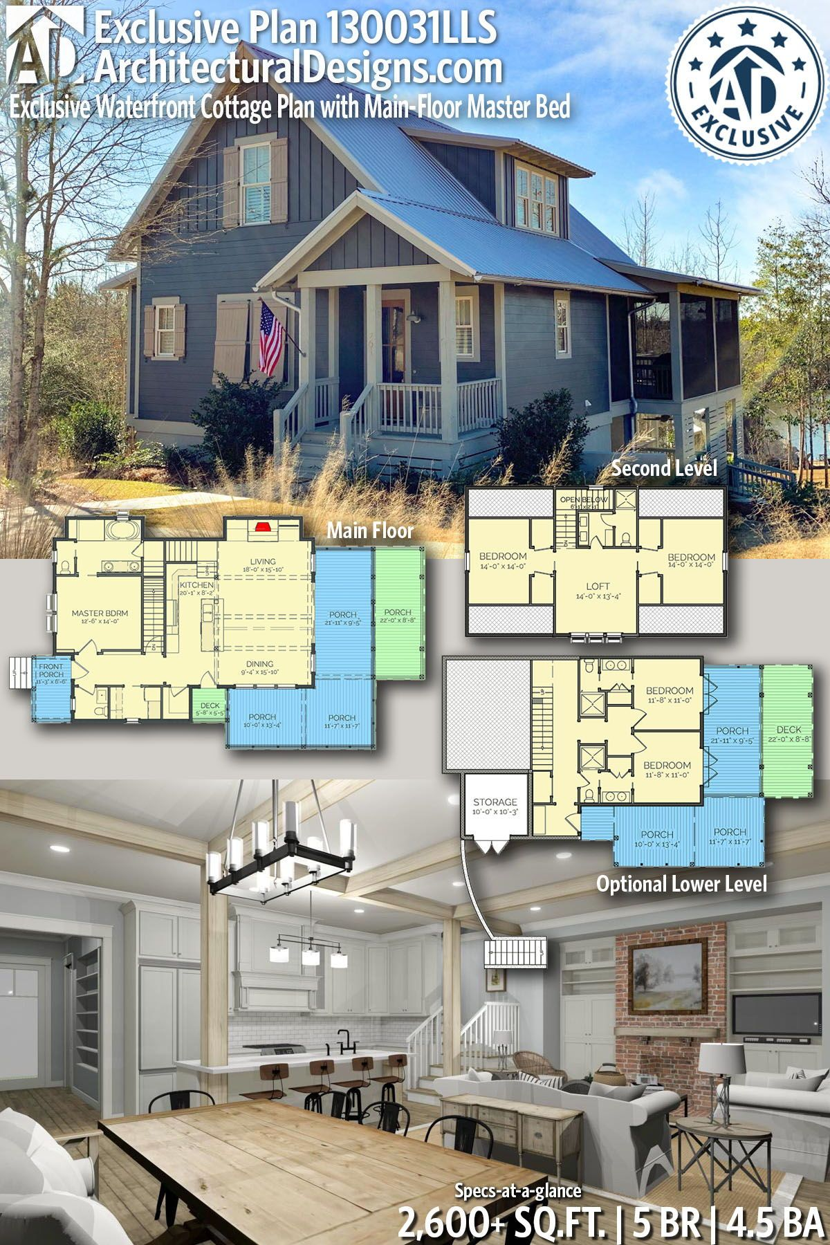 Plan 130031lls Exclusive Waterfront Cottage Plan With Main Floor Master Bed Cottage Plan Lake House Plans Cottage Floor Plans