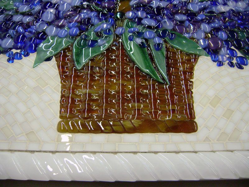 Fused Glass Floral Backsplash (Blue Hydrangea) | Designer Glass Mosaics|Designer Glass Mosaics