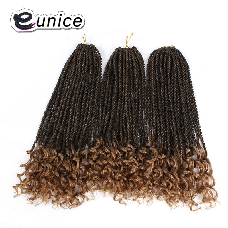 Eunice Hair Curly Senegalese Twist Crochet Braids 16 inch OMBRE Braiding Synthetic Hair Extension for Women 30strands/pack #crochetsenegalesetwist