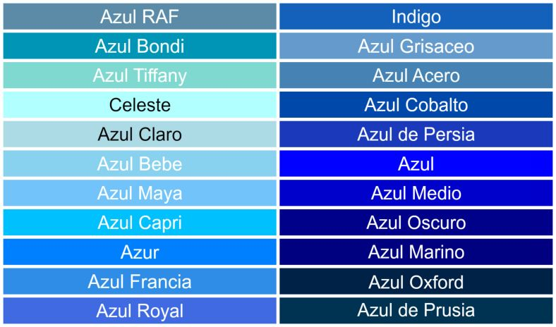 Azul De Tierra En Ti Tipos De Azules Paleta De Azul Nombres De Colores