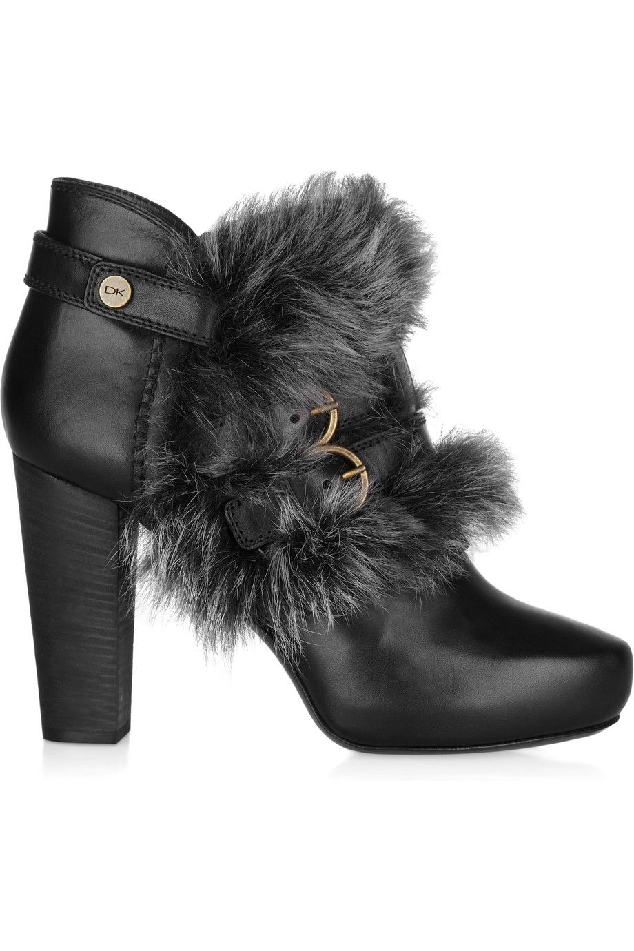 Shearling-trimmed leather ankle boots by Donna Karan