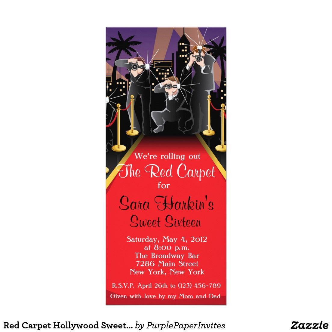 Red Carpet Hollywood Sweet 16 Birthday Invite | Birthday Party ...