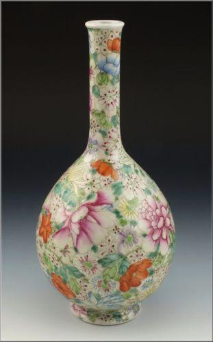 Antique Chinese Famille Rose Porcelain Bottle Vase W Qianlong Mark