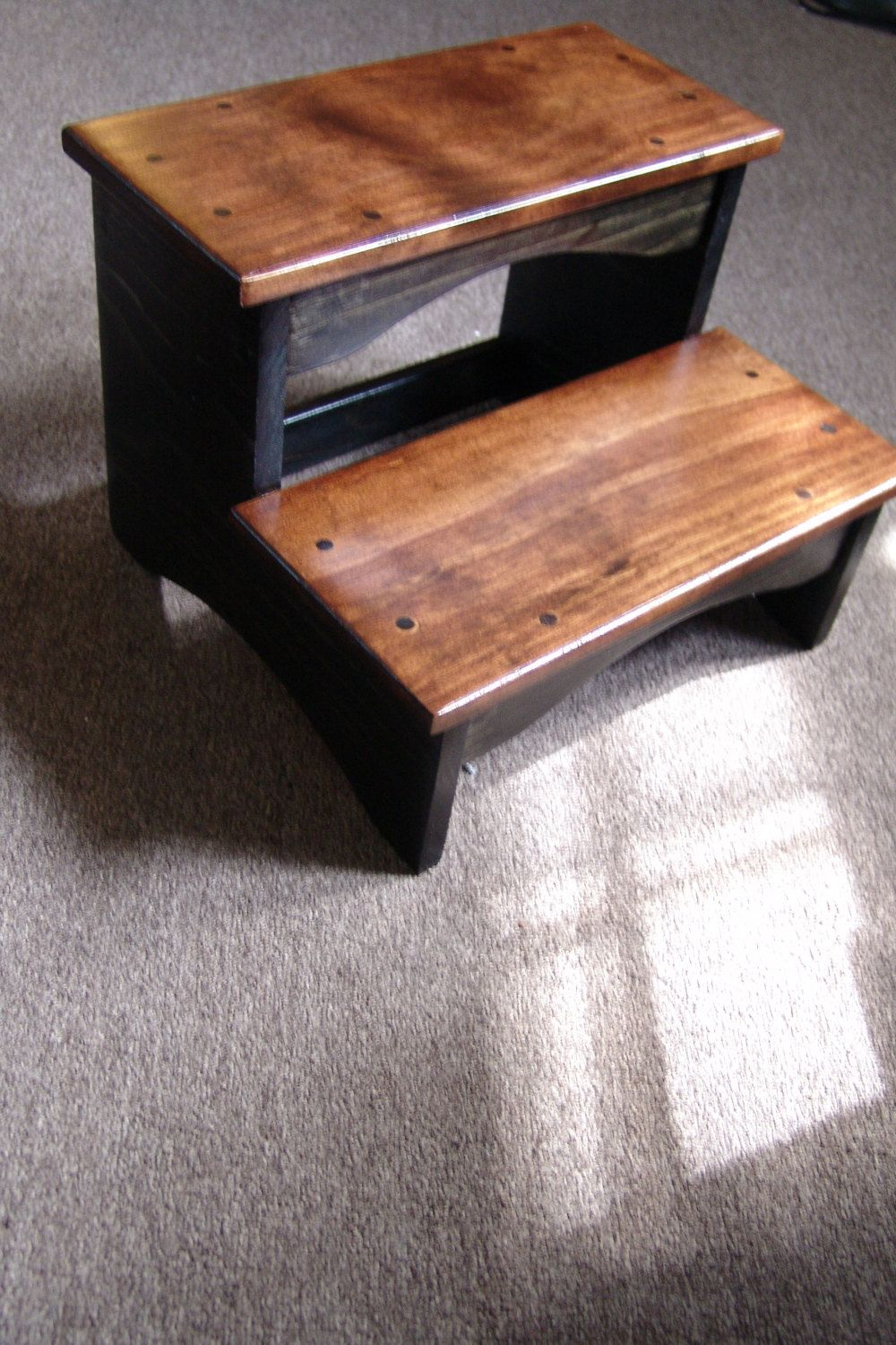 Handcrafted Heavy Duty 2 Step Stool, Solid Wood Wooden Bedside Bedroom  Kitchen Kids Bathroom Black