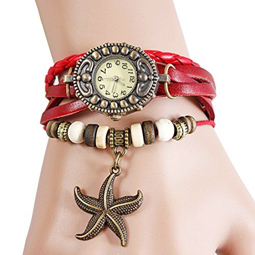 Wrap Around Weave Leather Watch Bracelet Wristwatch Wristband (Starfish Style (Red)). Retro design watches. It can be used as bracelet and watch. Suitable for all kinds of occasions. The great gift for girl, kid, friend.