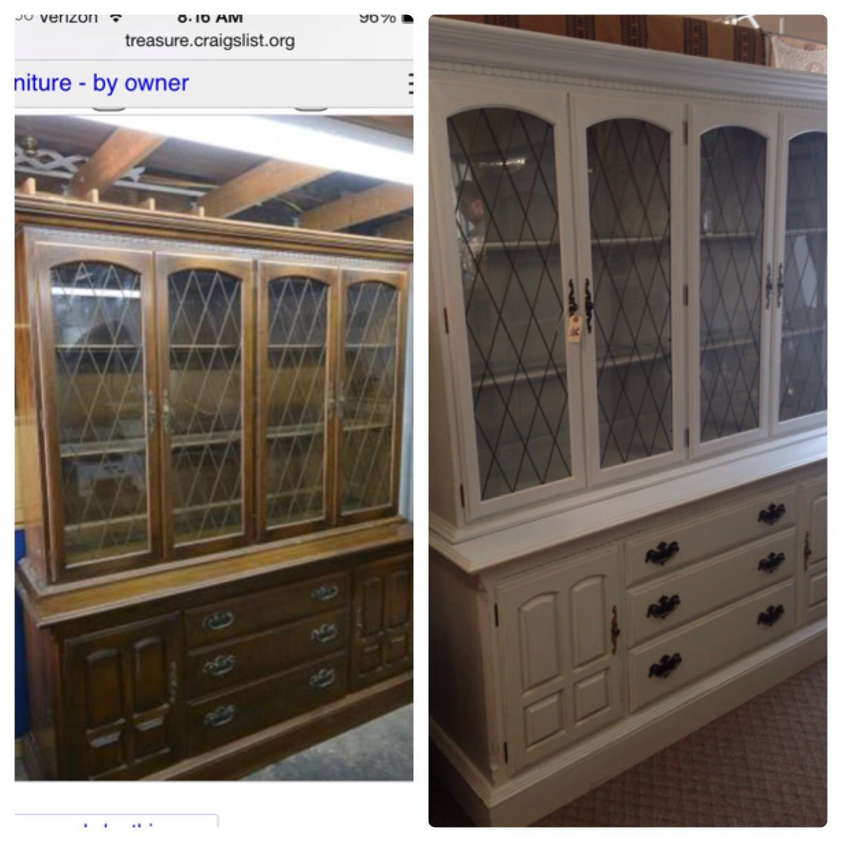 Before And After: Chalk Painted Ethan Allen China Cabinet. My Own Custom  Mix In