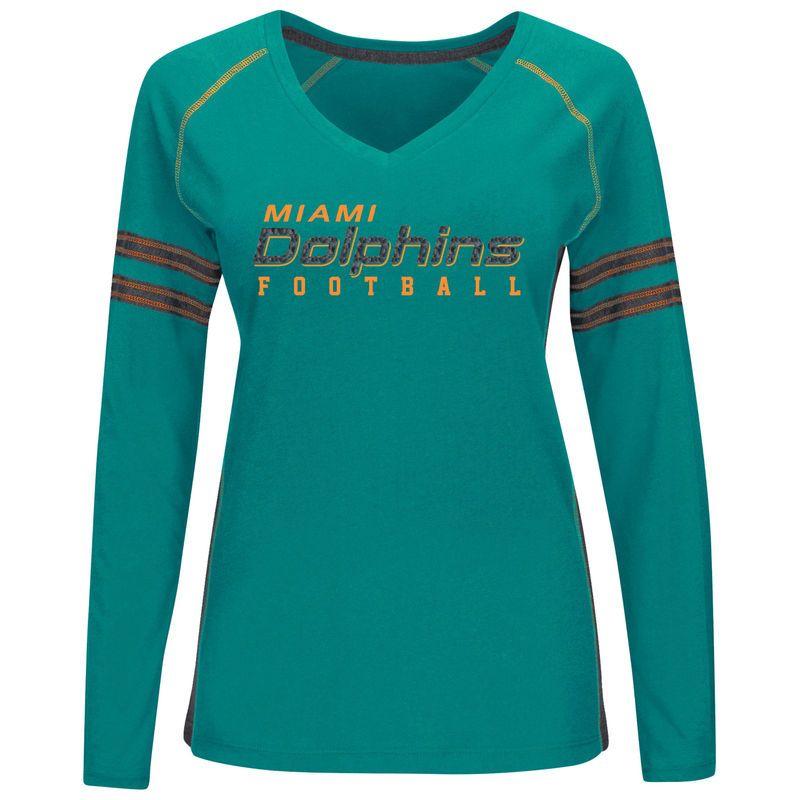 Miami Dolphins Majestic Women's Deep Fade Route Long Sleeve T-Shirt – Aqua