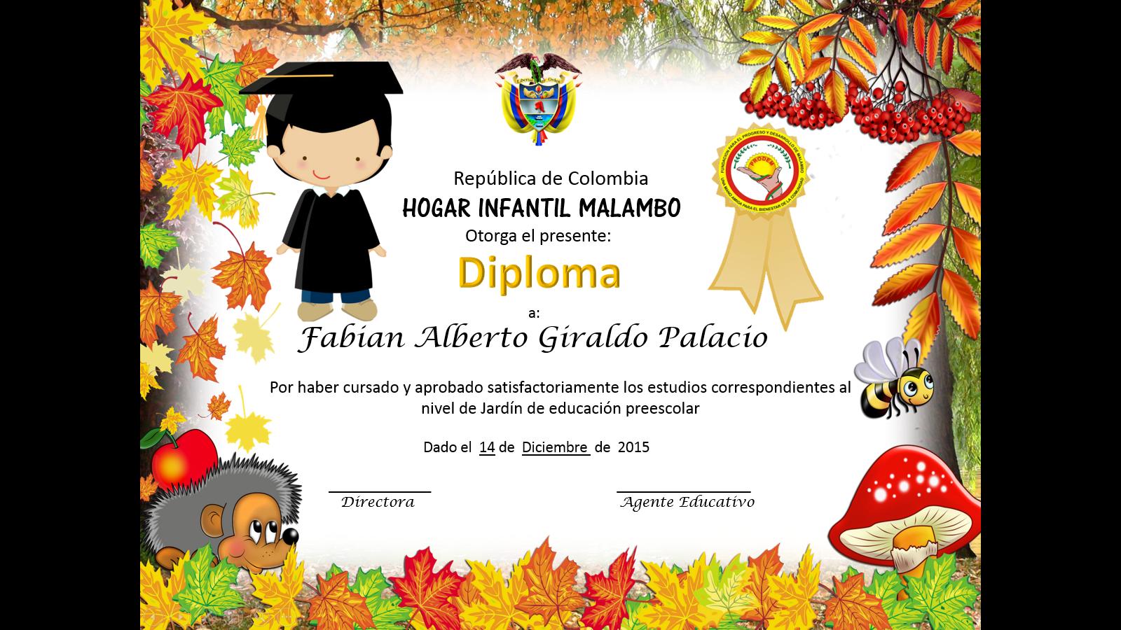 Diploma Nino Diplomas Hogar Infantil Educacion Preescolar