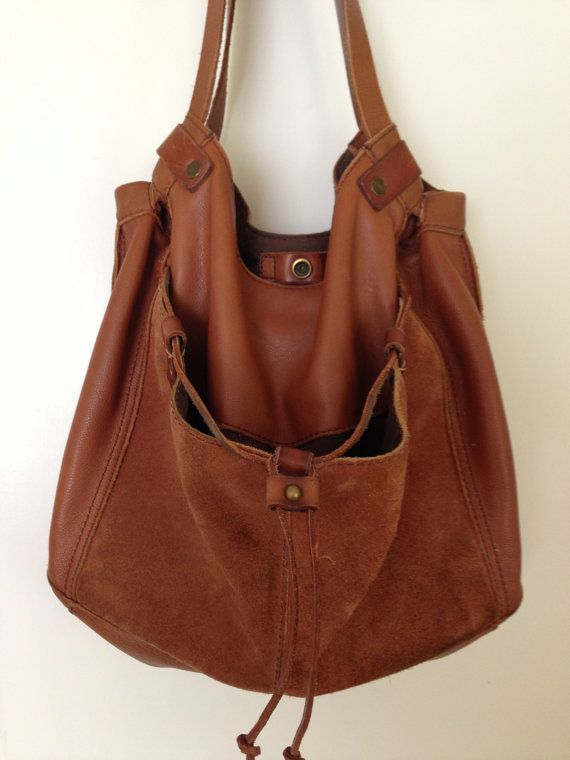 Lucky Brand Soft Caramel Brown Leather and Suede Large Slouchy Hobo Tote  Bag Handbag Bohemian Hippie 14 x 12 x 6.5 strap 22 excellent condition 1d15972cd75a7