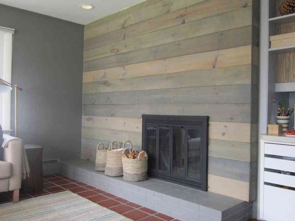 Wood Wall Covering Ideas Midcentury Fireplaces Fireplace Wall