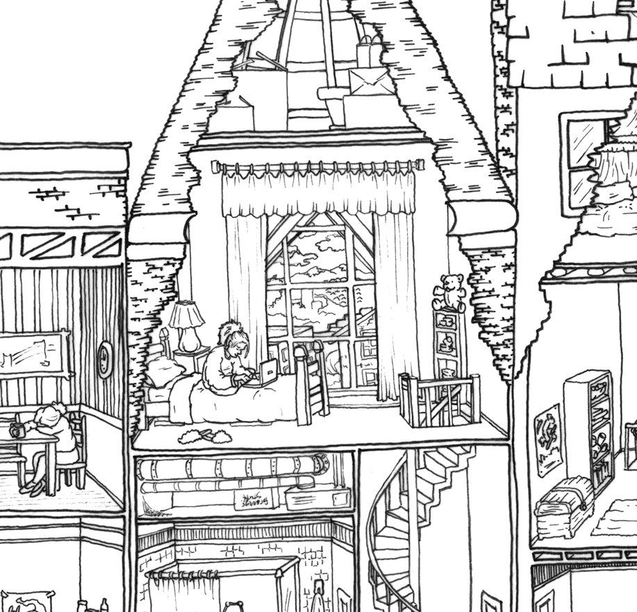 jumbo coloring poster apartment building cross by drawnbyholly