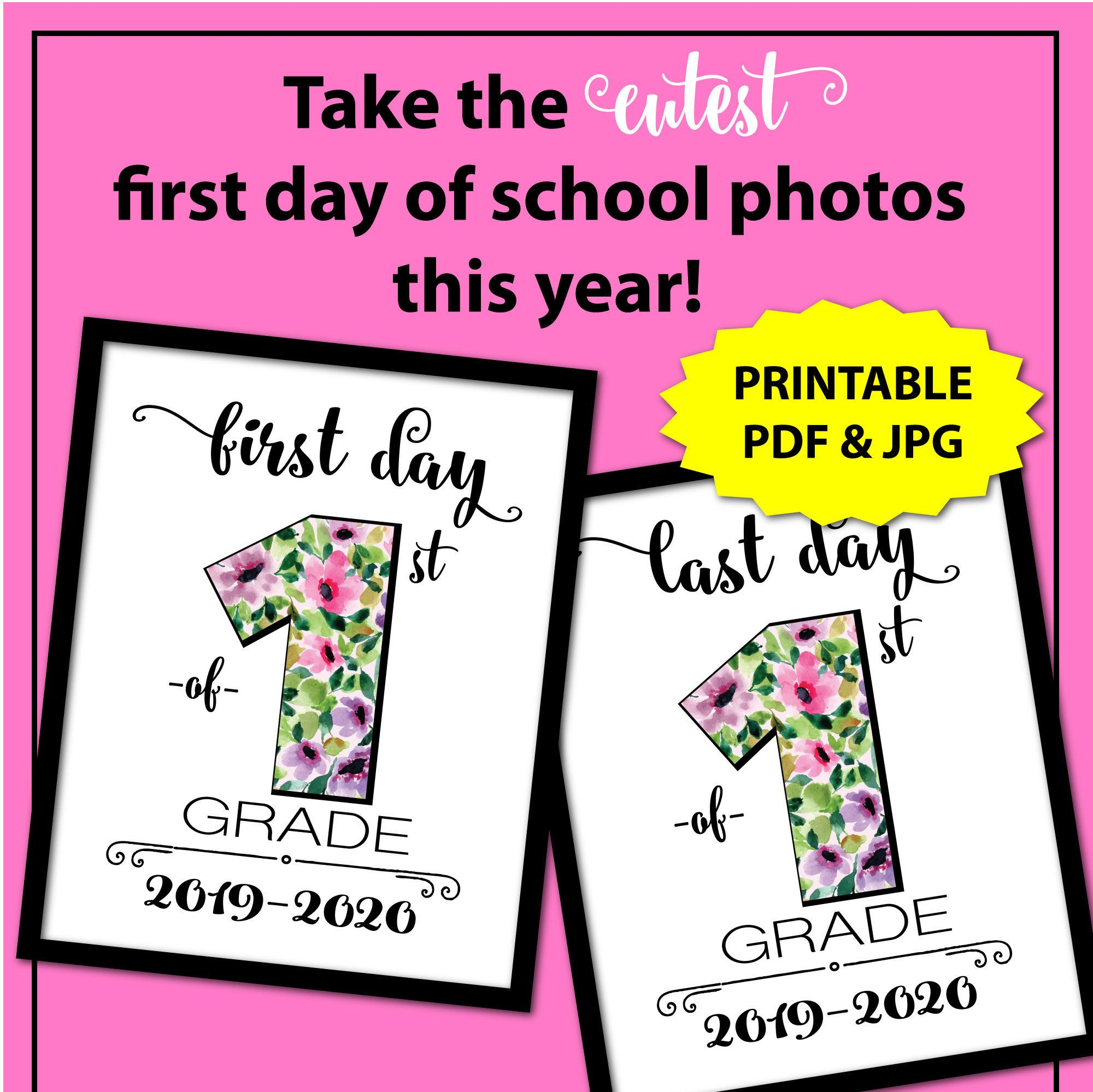 Floral First Day of First Grade Sign by JoDitt Designs #firstdayofschoolsign