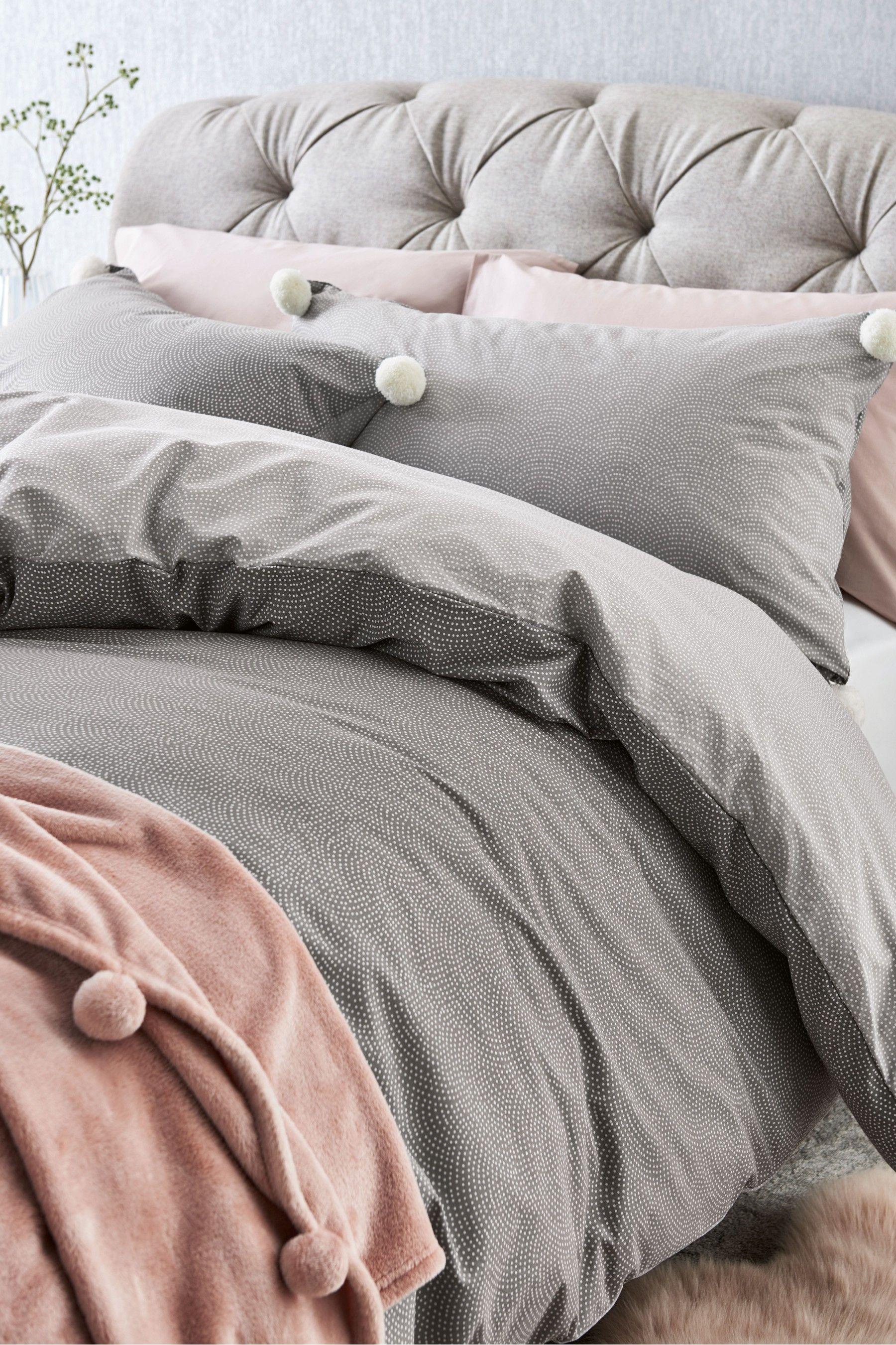 Next Multi Dot Pom Pom Duvet Cover And Pillowcase Set Grey