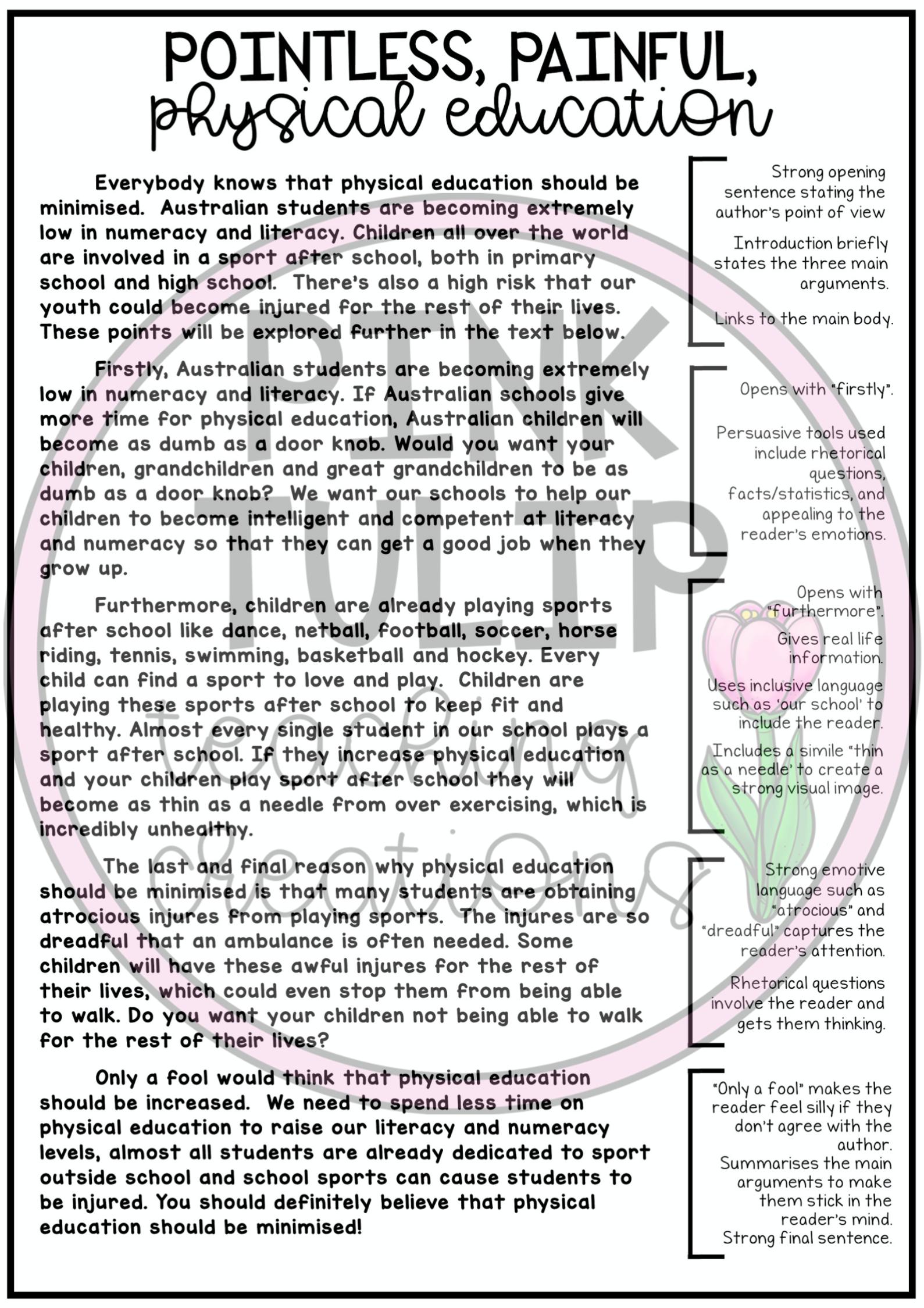 Persuasive Writing Worksheet Pack Slides