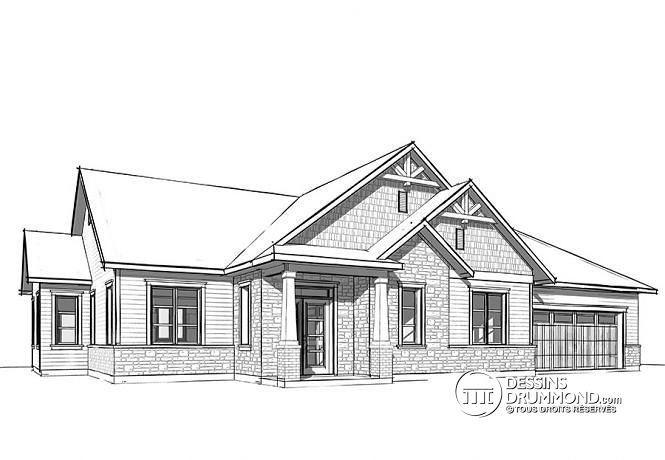 W3284-CJG1 - Maison champêtre rustique, plafond 9u0027, 3 chambres - liste materiaux construction maison