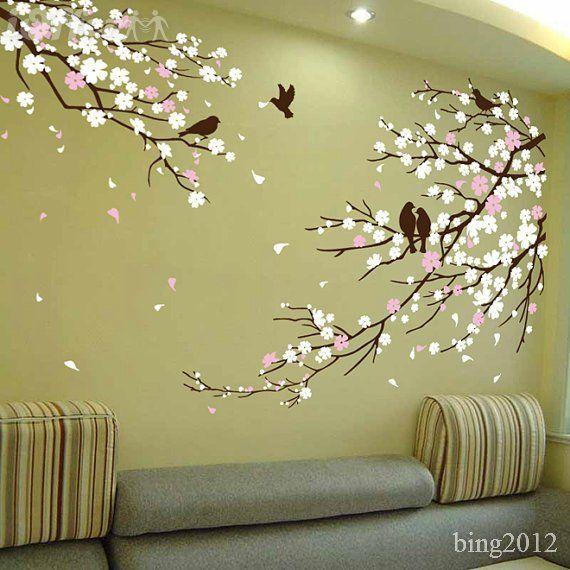Chic Cherry Blossom Birds Wall Wall Painting Decor Mural Wall Art Tree Wall Decor