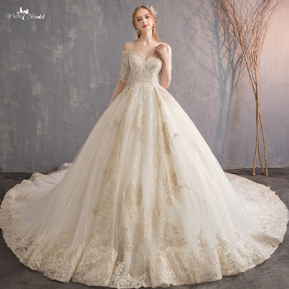 Aliexpress Com Buy Rsw553 Real Photo 1m Long Train Half Sleeves Strapless Wedding Gow Off Shoulder Wedding Dress Wedding Dress Factory Strapless Wedding Gown