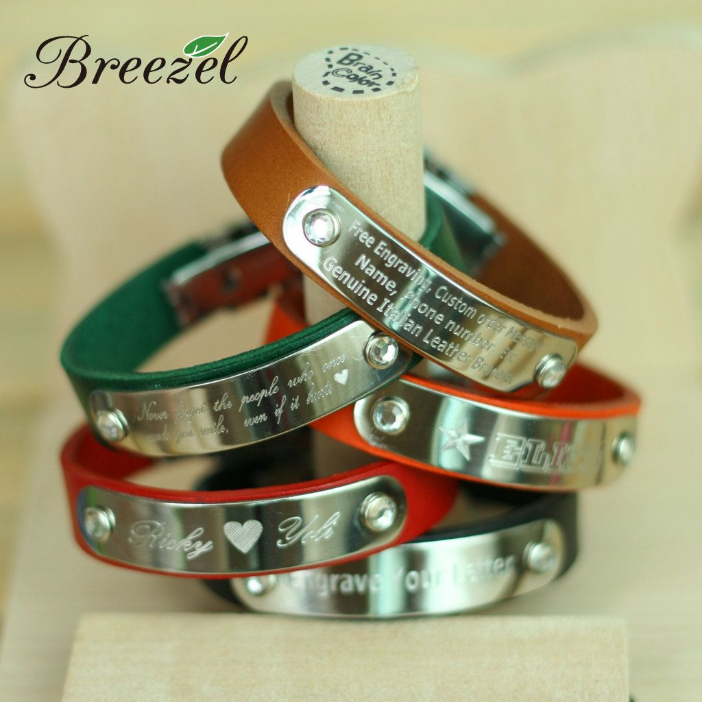 Free Custom Engrave Leather Bracelet Personalized Confirmation Gift Memorial Wristband For Love Friendship