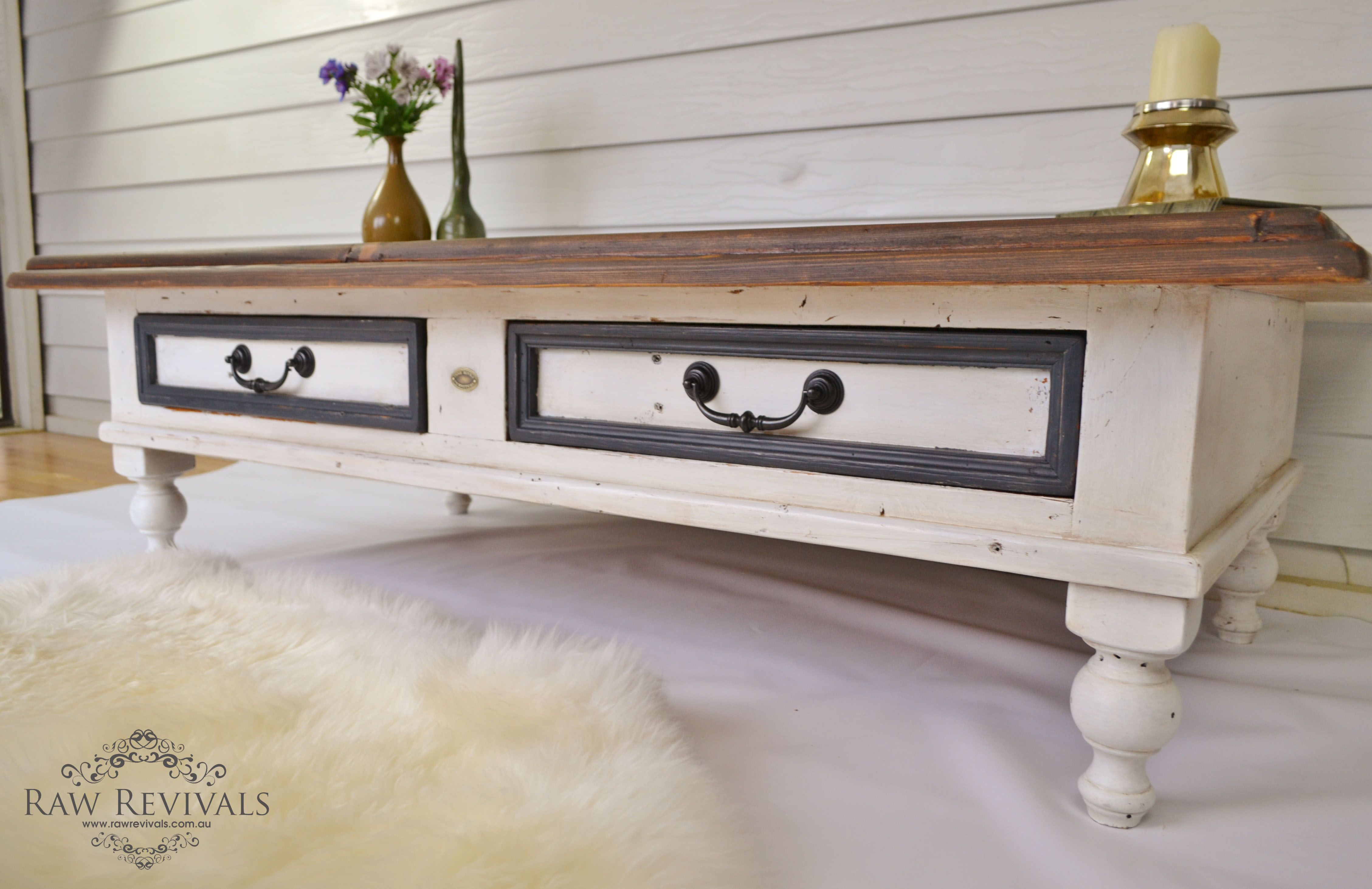 Rustic Timber Coffee Table White and granite blue with