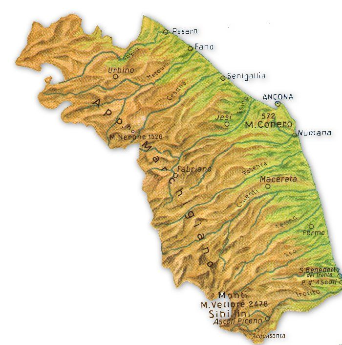Cartina Topografica Marche.Cartina Delle Marche Marca