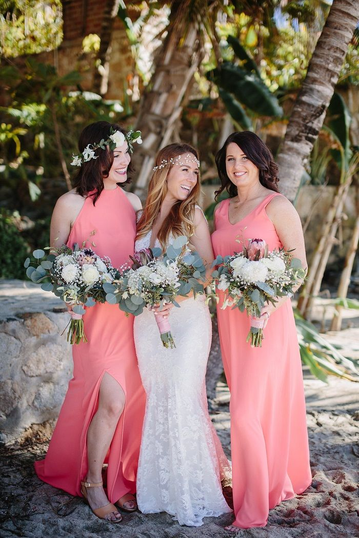 Bride and bridesmaid in coral dresses | Fabmood.com