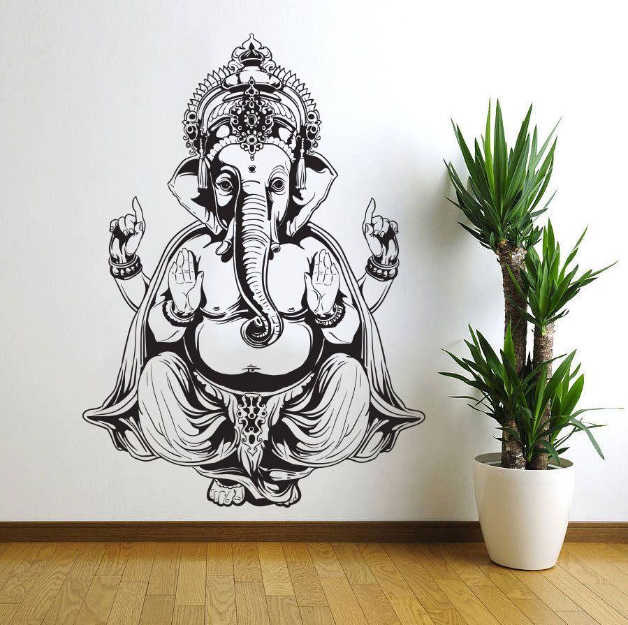 Wall Sticker Art vinyl wall decal sticker art decor bedroom ganesh elephant god om