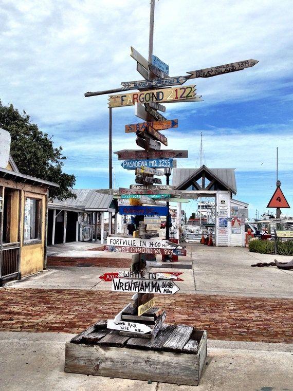 key west direction sign fortville, IN   Key West mileage sign.