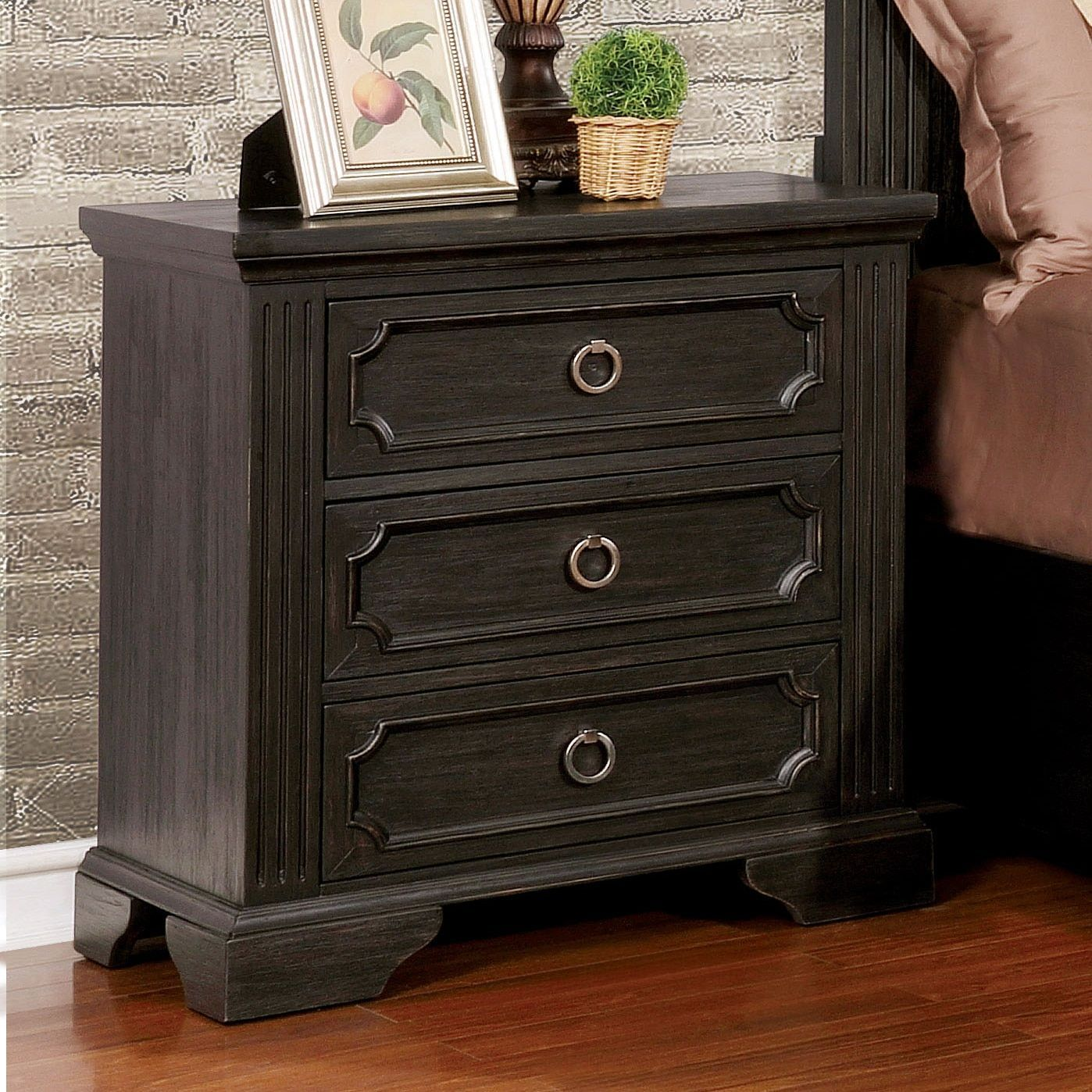 Furniture Of America Hollen Wire Brushed Black 3 Drawer Nightstand (Wire Brushed Black)