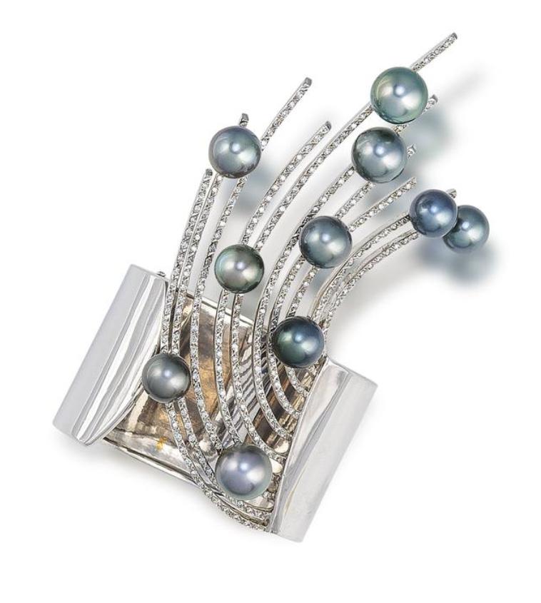 Tahitian Pearl bypass cuff peacock Tahitian RTS tahitian pearl bangle wrap Tahitian pearl Bracelet sterling silver cuff pearl bangle
