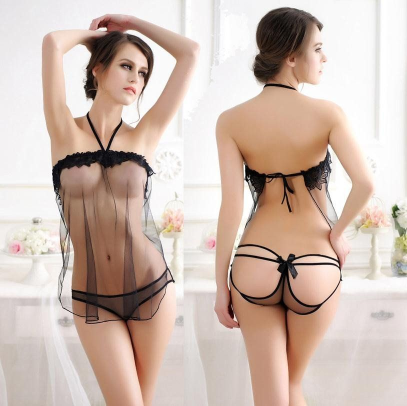 1bda789f11 Top Quality 2017 Hot Women s Sexy Hang A Neck Lace Tulle Transparent Hollow  Out Thong With A Dress Sexy Lingerie Plus Size