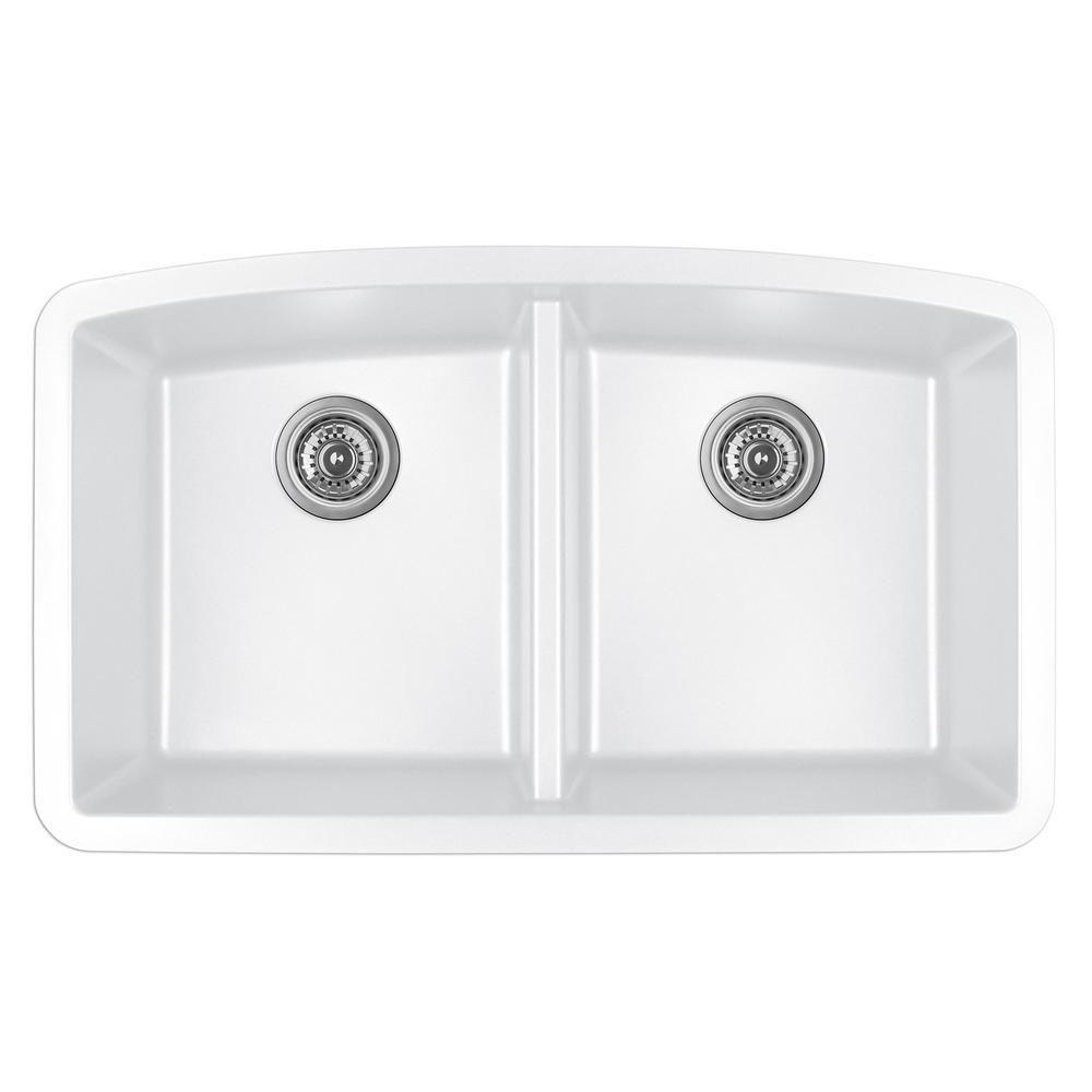 Karran Undermount Quartz Composite 32 In 50 50 Double Bowl Kitchen Sink In White Qu 710 Wh The Home Depot Undermount Kitchen Sinks Sink Kitchen Sink