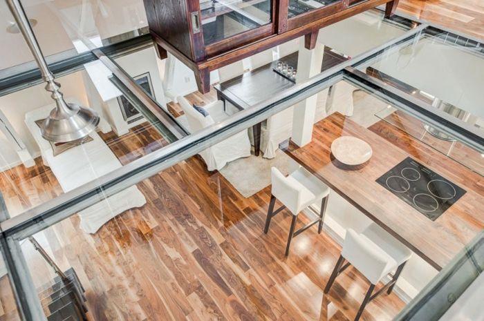 skandinavisch wohnen penthousewohnung obergeschoss glasboden