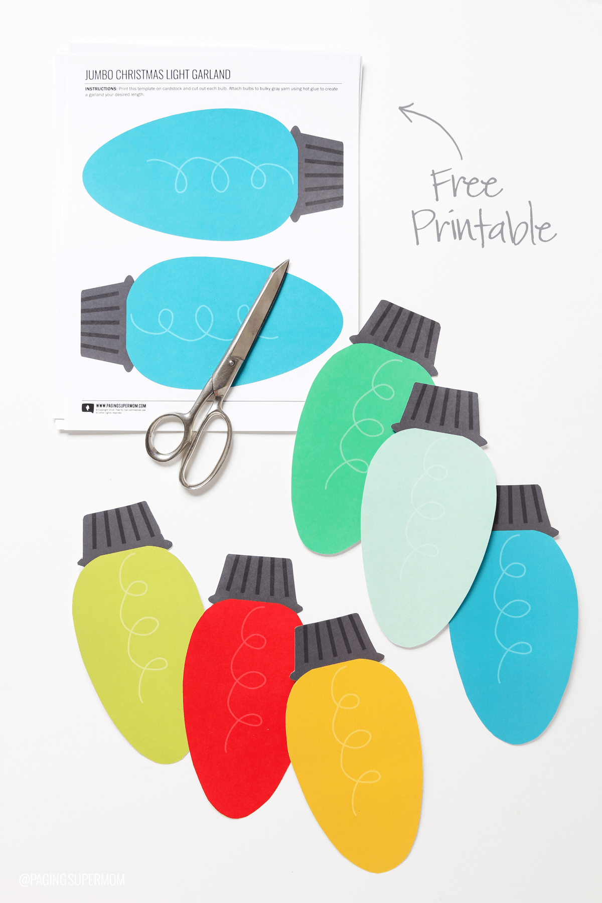 Free Printable Christmas Lights Garland Decorating
