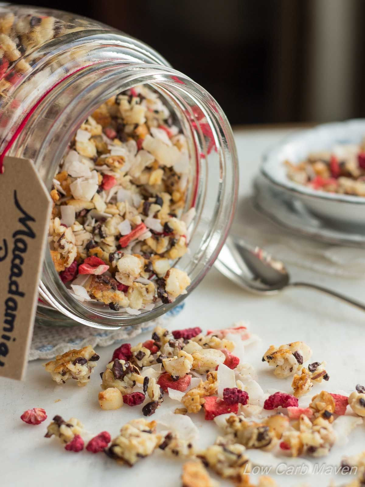 Low carb granola with macadamia nuts, coconut flakes, and cacao nibs collide with freeze dried ...