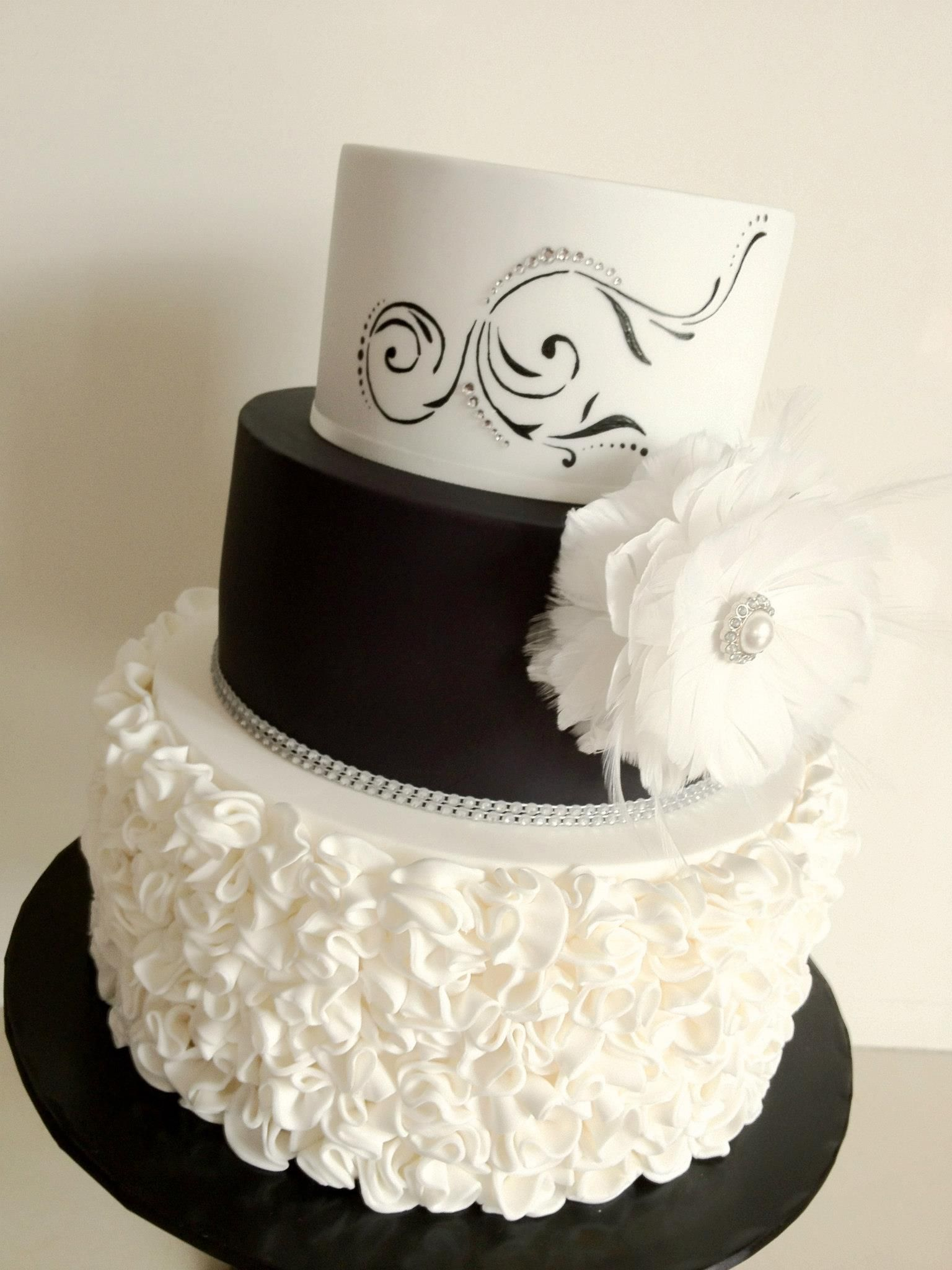 Black And White Cake With Ruffles And Painted Detail Cake