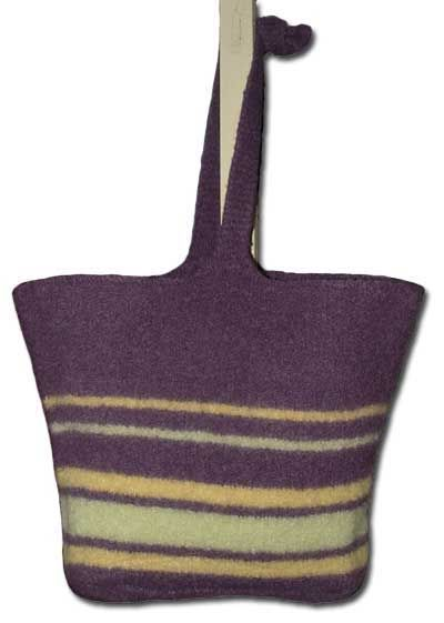 Large Knitted Felt Tote Bag With Stripes Knitting Patterns