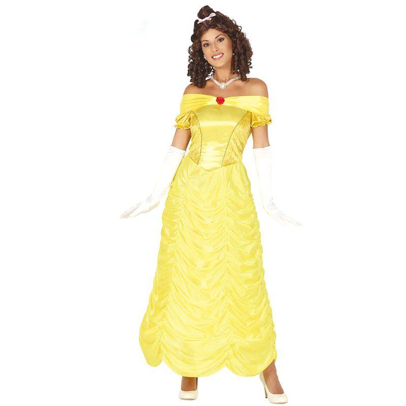 93c47ce8cb1ca Déguisement de Princesse jaune pour femme comprenant une robe. Ce  déguisement s accorde parfaitement