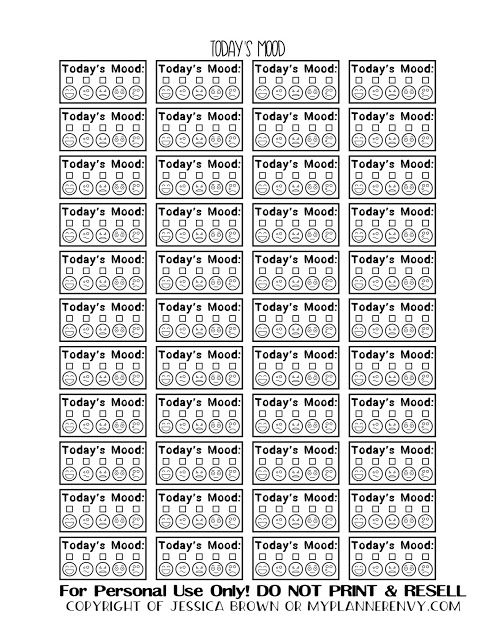 Free Printable Today\u0027s Mood Tracker Boxes from myplannerenvy - mood chart form