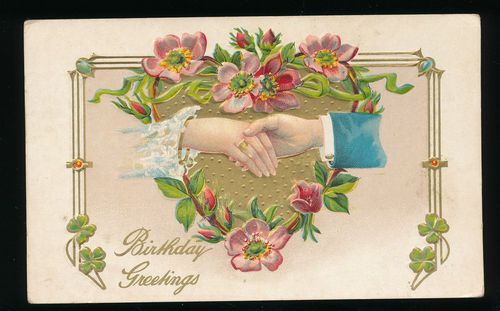 Clasped Hands with Heart Flowers Greeting Postcard Vintage GGG788 | eBay